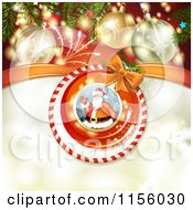 Clipart Of A Christmas Background Of Fireworks Baubles And Santa Royalty Free Vector Illustration