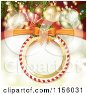 Clipart Of A Christmas Background Of Fireworks Baubles And A Round Candy Cane Frame Royalty Free Vector Illustration by merlinul