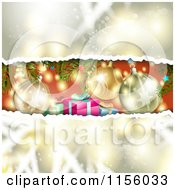 Clipart Of A Peek At Christmas Presents Through Torn Bokeh Royalty Free Vector Illustration