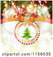 Clipart Of A Christmas Background Of Fireworks Baubles And A Christmas Tree 2 Royalty Free Vector Illustration