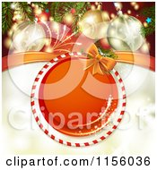 Clipart Of A Christmas Background Of Fireworks Baubles And A Round Candy Cane Frame 2 Royalty Free Vector Illustration