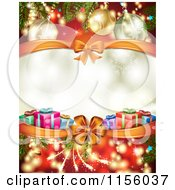 Clipart Of A Christmas Background Of Presents Branches Bows And Copyspace 2 Royalty Free Vector Illustration
