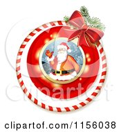 Clipart Of A Christmas Candy Cane Ring And Bow With Santa Royalty Free Vector Illustration