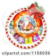 Clipart Of A Christmas Candy Cane Ring And Bow With Santa And Gifts Royalty Free Vector Illustration