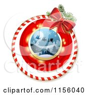 Clipart Of A Christmas Candy Cane Ring And Bow With Santas Magic Sleigh Royalty Free Vector Illustration