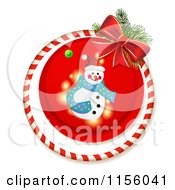 Clipart Of A Christmas Snowman Candy Cane Ring And Bow Royalty Free Vector Illustration