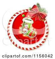 Clipart Of A Christmas Stocking Candy Cane Ring And Bow Royalty Free Vector Illustration