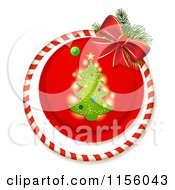Clipart Of A Christmas Tree Candy Cane Ring And Bow Royalty Free Vector Illustration