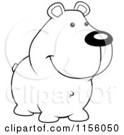Cartoon Clipart Of A Black And White Smiling Bear Vector Outlined Coloring Page