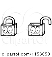 Cartoon Clipart Of Black And White Padlocks Vector Outlined Coloring Page by Cory Thoman