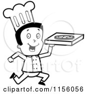 Cartoon Clipart Of A Black And White Running Pizza Delivery Boy Chef Vector Outlined Coloring Page