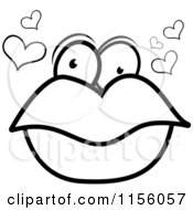 Cartoon Clipart Of A Black And White Pair Of Lips With Eyes And Hearts Vector Outlined Coloring Page by Cory Thoman