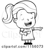 Cartoon Clipart Of A Black And White Toddler Girl Laughing And Pointing Vector Outlined Coloring Page