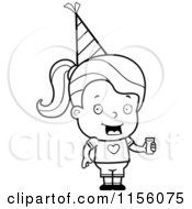 Cartoon Clipart Of A Black And White Little Girl Holding Punch And Wearing A Party Hat Vector Outlined Coloring Page by Cory Thoman