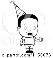 Cartoon Clipart Of A Black And White Black Birthday Boy Holding Punch Vector Outlined Coloring Page