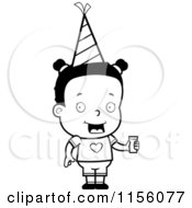 Cartoon Clipart Of A Black And White Black Girl Wearing A Party Hat And Holding Juice Vector Outlined Coloring Page by Cory Thoman