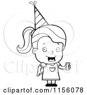 Cartoon Clipart Of A Black And White Toddler Girl Wearing A Party Hat And Holding Juice Vector Outlined Coloring Page by Cory Thoman