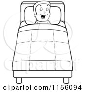 Cartoon Clipart Of A Black And White Happy Boy In Bed Vector Outlined Coloring Page