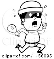 Cartoon Clipart Of A Black And White Running Burglar With A Bag Of Cash Vector Outlined Coloring Page