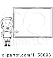 Cartoon Clipart Of A Black And White Boy Presenting A Chalk Board Vector Outlined Coloring Page by Cory Thoman