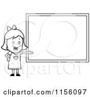 Cartoon Clipart Of A Black And White White School Girl Presenting A Blank Chalkboard Vector Outlined Coloring Page by Cory Thoman