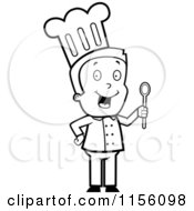 Cartoon Clipart Of A Black And White Toon Guy Chef Character Holding A Spoon Vector Outlined Coloring Page