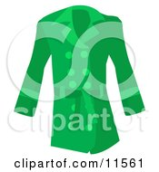 Womans Long Green Coat Clipart Picture
