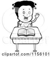 Cartoon Clipart Of A Black And White Black Girl Raising Her Hand At Her Desk Vector Outlined Coloring Page by Cory Thoman