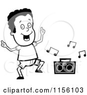 Cartoon Clipart Of A Black And White Dancing African American Boy Character With A Boom Box Vector Outlined Coloring Page