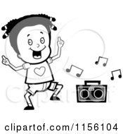 Cartoon Clipart Of A Black And White Black Girl Dancing To Music Vector Outlined Coloring Page