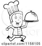 Cartoon Clipart Of A Black And White Toon Guy Chef Character Running With A Platter Vector Outlined Coloring Page