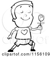Cartoon Clipart Of A Black And White Sweet Caucasian Boy Character Holding A Rose Vector Outlined Coloring Page