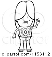 Cartoon Clipart Of A Black And White Hippie Caucasian Girl Character Vector Outlined Coloring Page