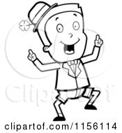 Cartoon Clipart Of A Black And White Happy Dancing Irish Leprechaun Boy Vector Outlined Coloring Page