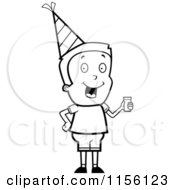 Cartoon Clipart Of A Black And White Caucasian Boy Character Wearing A Party Hat And Drinking Punch Vector Outlined Coloring Page