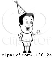 Cartoon Clipart Of A Black And White Black Party Boy Holding A Drink Vector Outlined Coloring Page