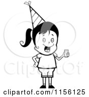 Cartoon Clipart Of A Black And White Cute Birthday Girl Wearing A Hat And Holding Punch Vector Outlined Coloring Page by Cory Thoman