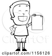 Cartoon Clipart Of A Black And White Grinning Little Boy Holding Up A Blank Report Card Vector Outlined Coloring Page by Cory Thoman