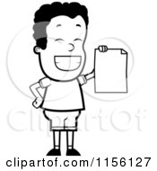 Cartoon Clipart Of A Black And White Proud Black Teen Boy Holding A Report Card Vector Outlined Coloring Page by Cory Thoman