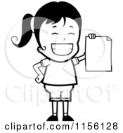 Cartoon Clipart Of A Black And White Grinning Girl Holding Up A Blank Report Card Vector Outlined Coloring Page by Cory Thoman