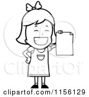 Cartoon Clipart Of A Black And White Grinning Little Girl Holding Up A Blank Report Card Vector Outlined Coloring Page by Cory Thoman