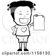 Cartoon Clipart Of A Black And White Black Girl Holding Up Her Report Card Vector Outlined Coloring Page by Cory Thoman