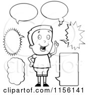 Cartoon Clipart Of A Black And White Caucasian Boy With Talk Bubbles Vector Outlined Coloring Page