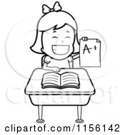 Cartoon Clipart Of A Black And White School Girl Holding Up An A Plus Report Card And Sitting At Her Desk Vector Outlined Coloring Page by Cory Thoman