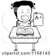 Cartoon Clipart Of A Black And White Happy Black Girl Holding An A Plus Report Card At Her Desk Vector Outlined Coloring Page by Cory Thoman