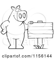 Cartoon Clipart Of A Black And White Pig Standing Beside A Blank Wood Sign Vector Outlined Coloring Page