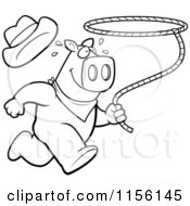 Cartoon Clipart Of A Black And White Rodeo Pig Running With A Lasso Vector Outlined Coloring Page