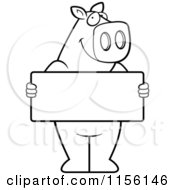 Cartoon Clipart Of A Black And White Pig Standing Upright And Holding A Blank Sign Board Vector Outlined Coloring Page