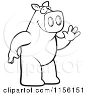 Cartoon Clipart Of A Black And White Friendly Pig Standing On His Hind Legs And Waving Vector Outlined Coloring Page