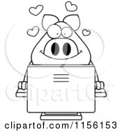 Cartoon Clipart Of A Black And White Pig Using A Desktop Computer Vector Outlined Coloring Page